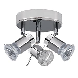ARIES Chrome Finish Halogen Bathroom Ceiling Lights / Lighting with 3 Spotlights IP44 by SEARCHLIGHT