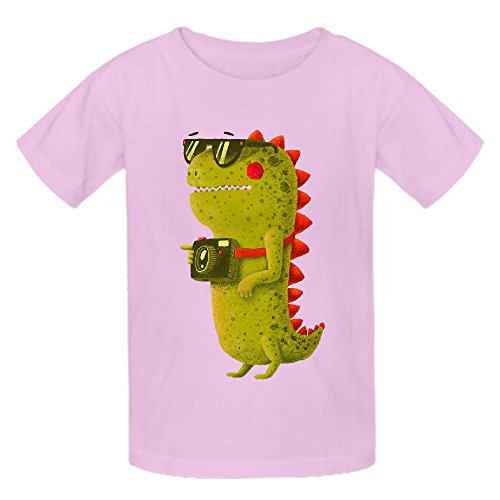 Dino Touristo Olive Girls Crew Neck Personalized T Shirts Pink