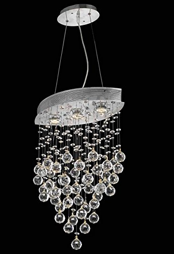 2025 Galaxy Collection Hanging Fixture W10In D18In H26.5In Lt:3 Chrome Finish (Swarovski Strass/Elements Crystals) front-661233
