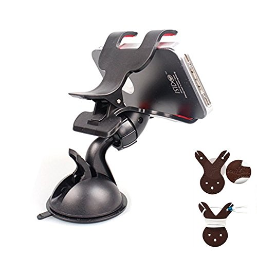 Boriyuan Multi-aim Universal 360 Degree Rotating Elbow-joint Suction Cup Mini Desk Car Mount Windshield Dashboard Cradle Adjustable Small Dual Clip Holder Hands-spontaneous Stand for Smartphones Mobile Phones (Not bigger than Galaxy Mega 6.3): iPod Come t