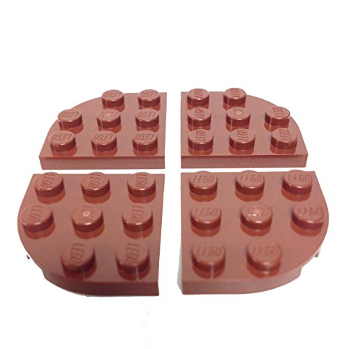 Lego Parts: Plate, Round Corner 3 x 3 (PACK of 4 - Reddish Brown)
