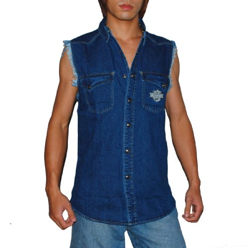 Mens Harley Davidson Motorcycles Racing Sleeveless Jean Jersey / Vest – Small