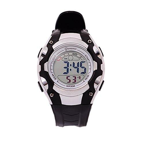 8Years- 1 Stueck Digitaluhr Armbanduhr Stoppuhr Watch Sportuhr Wasserdicht Schwarz