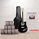 Esteban Crystal Heart 'Rock On' Collector Series Acoustic Electric Guitar Package w/ 10 DVDs and Accessories