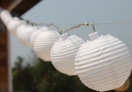 New Solar Powered 20 Led White Mini Round Chinese Lantern Fairy Light String