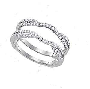 14k White Gold Womens Natural Round Diamond Bridal Wedding Enhancer Band Wrap Ring (.33 cttw.)