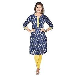 Indigo Printed Kurti with 3/4 sleeves and Contrast Kurta patti