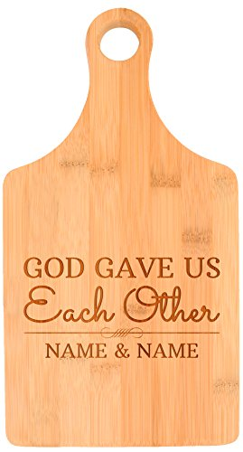 Custom Wedding Gift Christian God Gave Us Eachother Personalized Paddle Shaped Bamboo Cutting Board