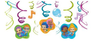 "Amscan Lovely Bubble Guppies Blue Plastic Party Favor Container, 4-1/2 x 6-1/4"", Green/Orange/Violet"