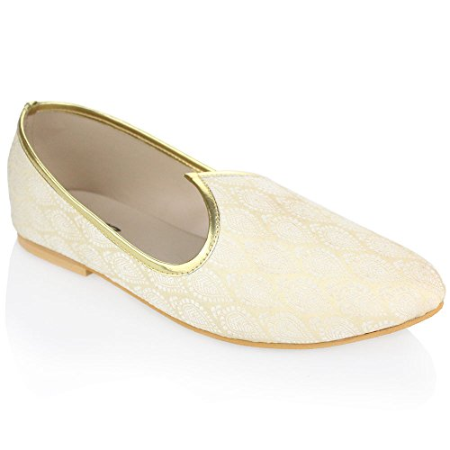 51deab71947 Aarz Mens Gents Traditional Handmade Indian Pumps Slip On Khussa Groom  Wedding Shoes Size (Gold