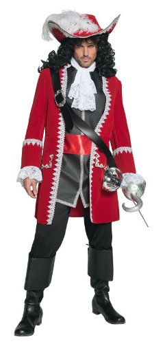 Smiffy's Men's Pirate Captain Costume, Red/White/Black, Medium