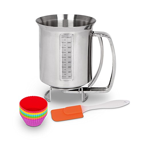 Stainless Steel Pancake & Cake Batter Dispenser Bundle with Measuring Label for Making Pancakes, Crepes & Waffles - Utilwise Baking Bundle with 12 Pack of Silicone Cupcake Mold Cups and Small Spatula