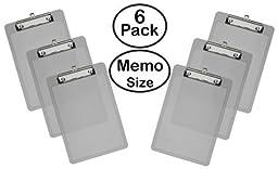 Acrimet Clipboard Memo Size Low Profile Clip (Smoke Color) (Pack - 6)