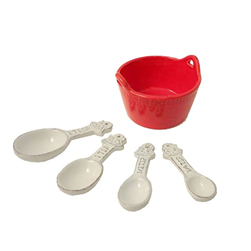 Best 5 Piece Red Unusual White Ceramic Measuring Spoons Utensils & Olive Bowl Set Cook Women Household Essentials Unique Weird Birthday Stocking Stuffer Christmas Gift Idea (Cooks Essentials Ice Cream Maker compare prices)