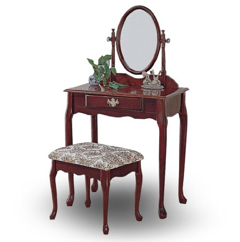 Cheap cherry wood queen anne vanity with table bench for Cheap vanity table set