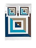 Devota&Lomba Colcha Visual (Azul/Blanco/Marrón)