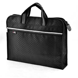 uxcell® Texture Braid Pattern 2 Pockets Zip Up Nylon File Documents Holder Bag Black