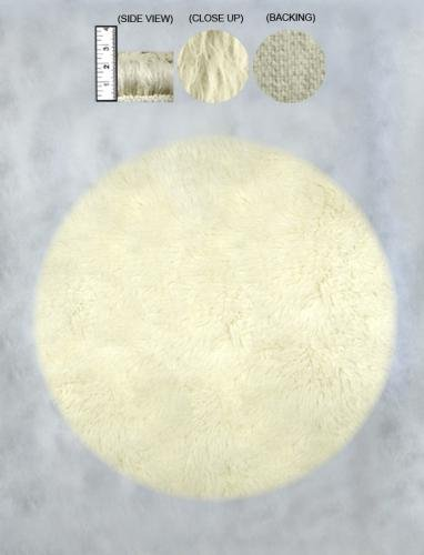 Greek Flokati 1300gram Hand Woven Wool Rug 3' Round (Natural White)