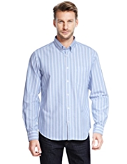 XXXL Pure Cotton Striped Oxford Shirt