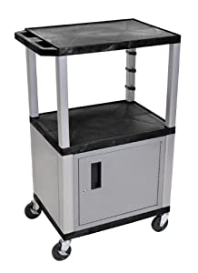 Wilson Tuffy Utility Cart with Locking Cabinet - 300-Lb. Capacity, 42in.H, Bl...
