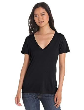 Splendid Women's Short Sleeve V-Neck,Black,X-Small