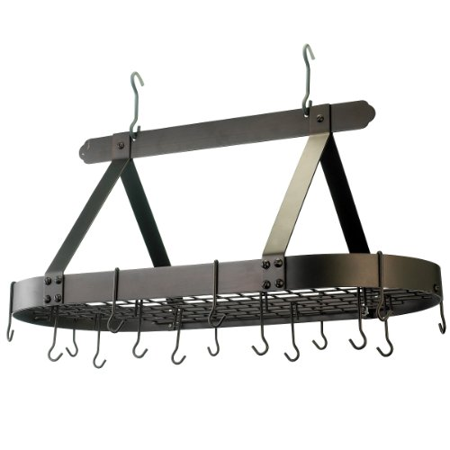 Old Dutch Oval Steel Pot Rack w. Grid & 16 Hooks, Oiled Bronze, 36