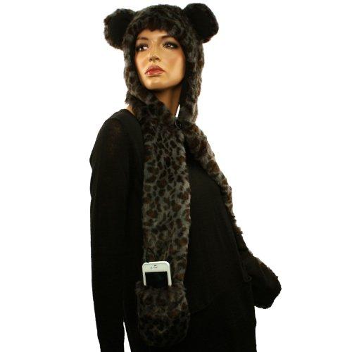 With Headphones Speakers Winter Faux Leopard Fur Trapper Pocket Ski Hat Cap Gray