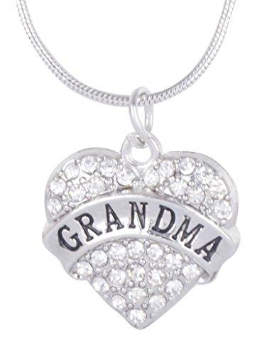 NewBurn I LOVE GRANDMA Rhinestone Charming Heart Chain Necklace - Silver NoSize