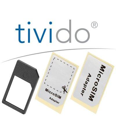 Micro Sim Adapter (Micro Sim Karte zu Sim Karte) mit Zuschneidehilfe schwarz by Tivido