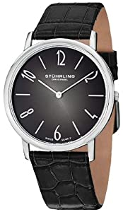 Stuhrling Original Men's 140A.01 Cuvette Contra Swiss Quartz Ultra Slim Black Watch