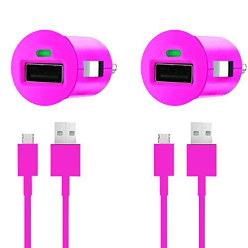 Premium 4in1 SET 2x KFZ Auto Adapter + 2x micro USB Datenkabel - PINK - Ladegerät - Ladekabel - Sony Xperia miro (ST23i)- Original Lanboo zubehör