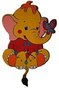 wanduhr elefant mit pendel 39 5 cm uhr holz kinder kind kinderzimmer kinderuhr spielzeug. Black Bedroom Furniture Sets. Home Design Ideas