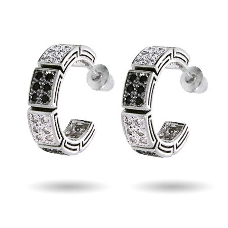 Alternating Two Tone Black and White Pave CZ Hoops - Clearance Final Sale