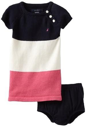 Nautica Sportswear Kids Baby-girls Infant Bold Stripe Sweater Dress, New Sport Navy, 12 Months