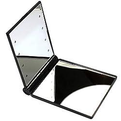 Joly Personal Makeup Mirrors Fashional Magnifying 2x Makeup Mirror Folding Portable Compact Pocket 8 Led Lights