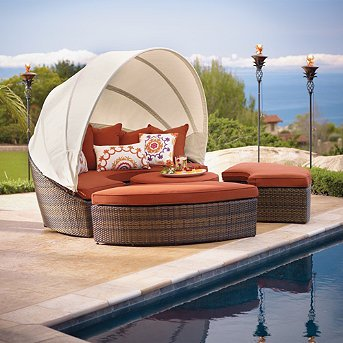 Fresh Bronze Baleares Outdoor Outdoor Daybed Brown with Off White Piping Frontgate Patio
