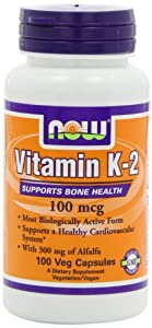 Now Foods Vitamin K2 (100mcg, 100 Vegetarian Capsules)