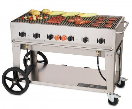 "Crown Verity CV-MCB-48-NG 56"" Wide Natural Gas Mobile Grill with 99 000 BTU/H 6 Burners 46"" Cooking Surface Tank Holder and Storage Shelf in Stainless"