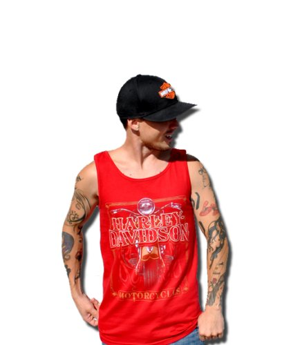 Harley-Davidson Mens Western HDMC Bike Red Sleeveless Tank (X-Large)