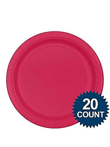 Amscan BB100252 Hot Pink 9 in. Paper Plates, 20Ct. - 1