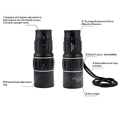 Ohuhu 16x52 Dual Focus Monocular Telescope / Monocular Scope for Hunting, Camping, Surveillance
