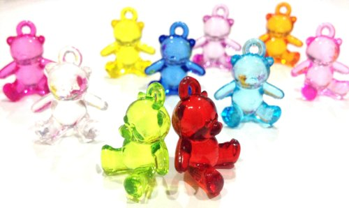 Pack of 10 Dazzling Cute Sitting Bear Loom Charms for Rainbow Band Loom Bracelets (Sb)