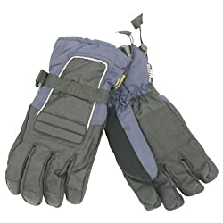 "Men's ""Moguls"" Thinsulate Lined / Waterproof Padded Ski Gloves - Black/Blue, X-Large"