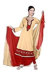 Kimisha Beige Semi Cotton Embroidered Anarkali Dress Material