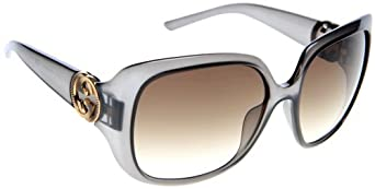 Gucci Women's 3163 Grey Frame/Brown Gradient Lens Plastic Sunglasses
