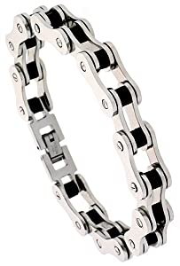 Stainless Steel Solid Link & Rubber Bicycle Chain Bracelet 1/2 inch wide, 7.5 inch long