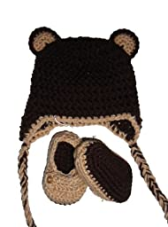 Sweet Lullabiez Handmade Bear Beanie & Loafers Set in Tan & Brown Size Preemie
