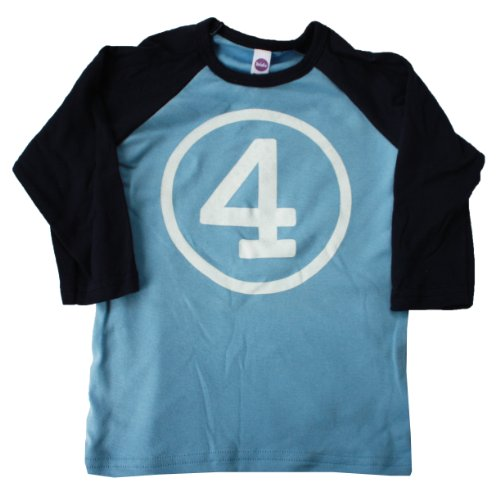 Happy Family Clothing Little Boys' Fourth Birthday Navy 3/4 Sleeve T Shirt