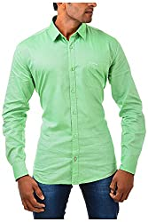 Casinova Men's Cotton Casual Shirt (2011_A-Medium, Green, Medium)