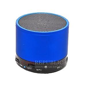 iPhone / iPad / iPod HiFi bleu Métal sans fil Bluetooth Batterie 3W Mini haut-parleur Speaker Enceintes Mic, Construit en TF (MicroSD) Reader